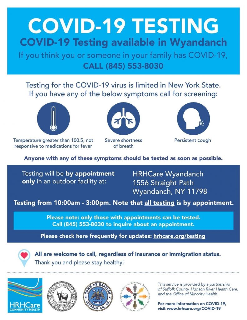 New Testing Sites Coming to Wyandanch and North Amityville