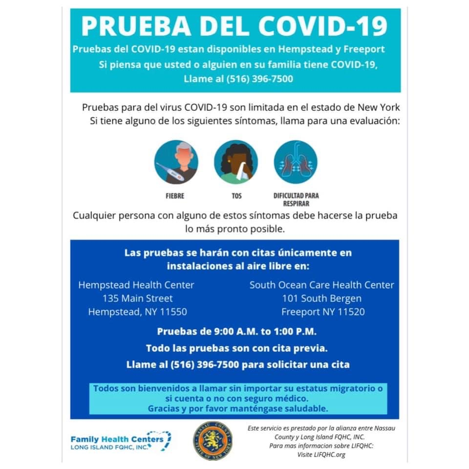 COVID-19 Testing Sites Now Available in Freeport and Hempstead